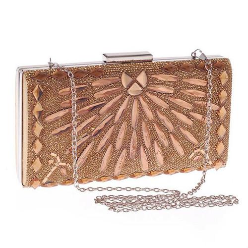 Cheap  Gold Geometric Crystal Evening Clutch Bag