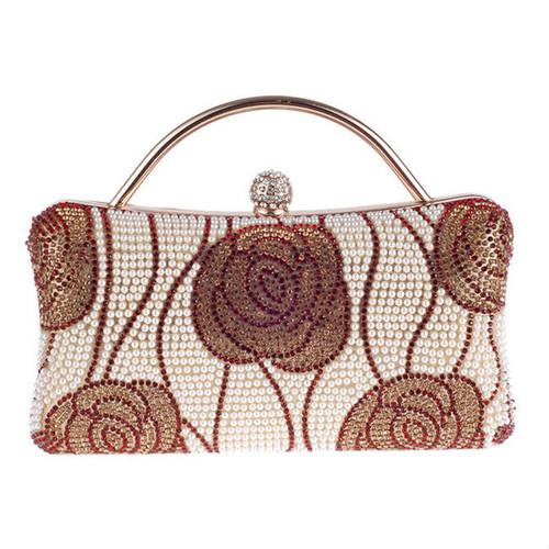 Fashion Floral Diamante Evening Clutch Bag