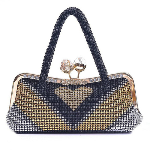 Cheap Beading Color Block Evening Clutch Bag