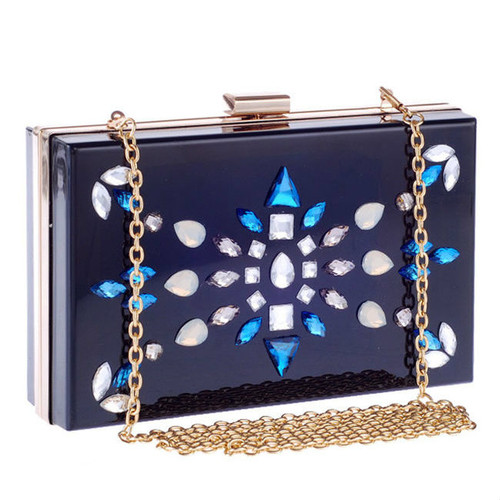 Cheap Faux Crystal Geometric Squared Clutch Bag