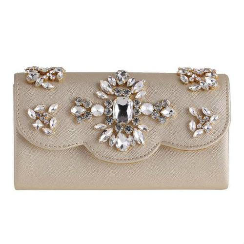 Hot Sale Diamante Luxurious Pu Clutch