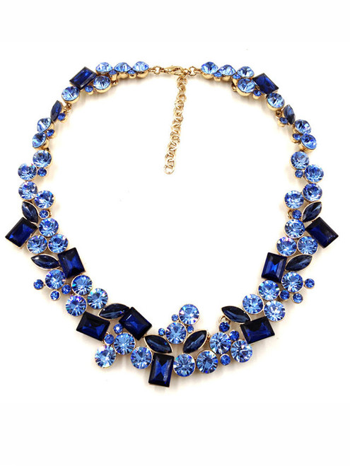 Fashion Gold Tone Blue Rhinestone Embellished Necklace