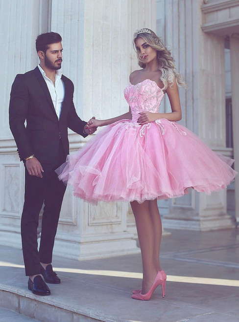 Pink Tulle Sweetheart With Appliques Homecoming Dress