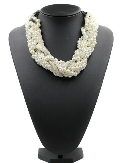 Cheap White Faux Pearl Beaded Necklace