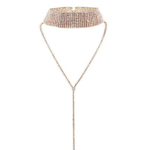 Cheap Luxury Rhinestone Long Chain Choker Necklace
