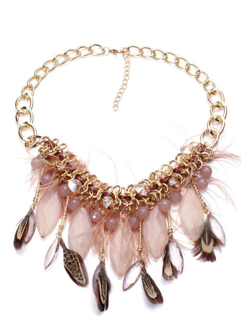 Fashion Gold Chain Feather Fringe Necklace