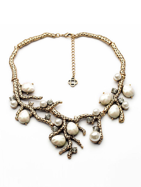 Cheap Stylish Faux Pearl Rhinestone Necklace