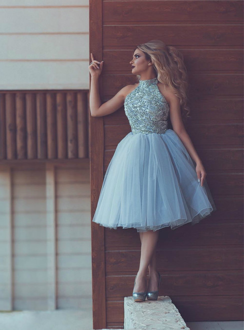 Blue Halter Tulle Beading Sleeveless Homecoming Dress
