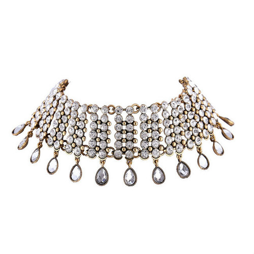 Cheap Wide Rhinestone Water-Drop Choker Necklace