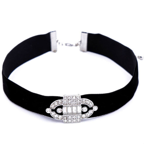 Cheap Trendy Rhinestone Choker Velvet Necklace