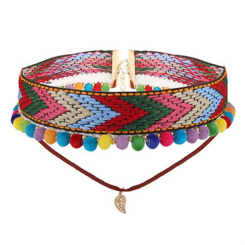 Cheap Bohemia Weaving Multicolor Necklace