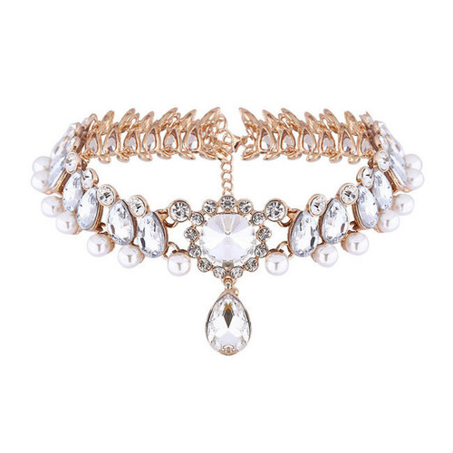 Fashion Retro Rhinestone Pearl Blend Choker Necklace