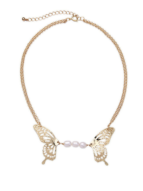 Cheap Glod Butterfly Pearls Chain Necklace