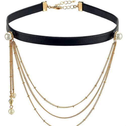 Cheap Layered Chain Pendant Choker Necklace