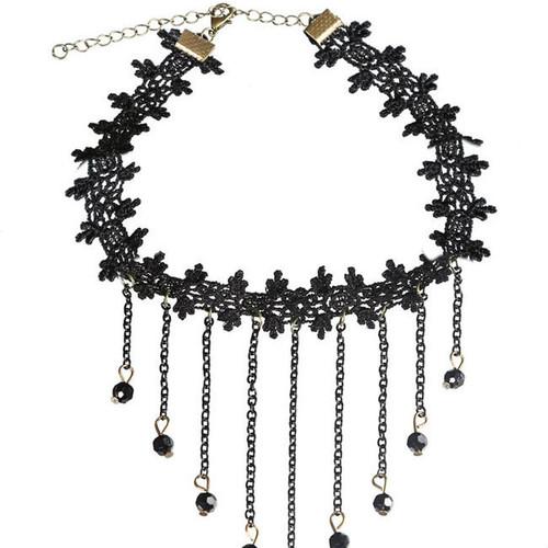 Cheap Tassel Pendant Black Lace Choker Necklace