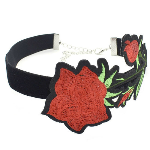 Cheap Red Rose Choker Necklace