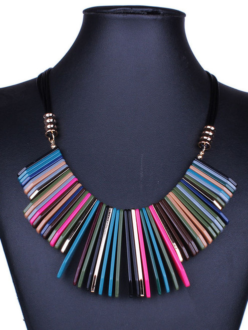 Cheap Tribal Colorful Acrylic Necklace