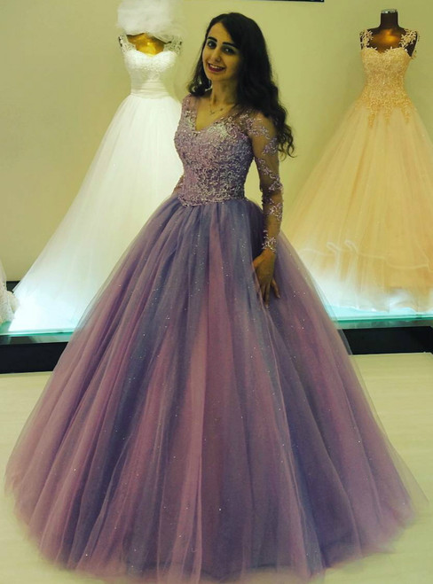 Glitter Ball Gown Prom Dresses with Long Sleeves 2017
