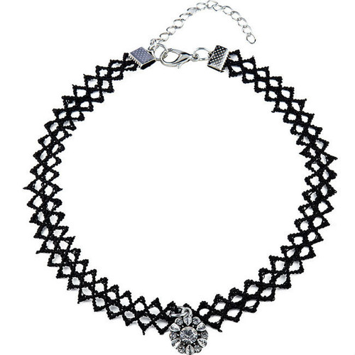 Cheap Faux Crystal Floral Shape Choker Necklace