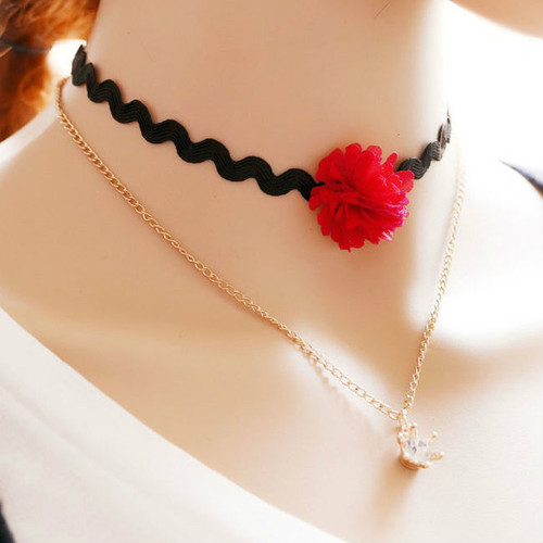 cheap Daisy Layer Choker Necklace