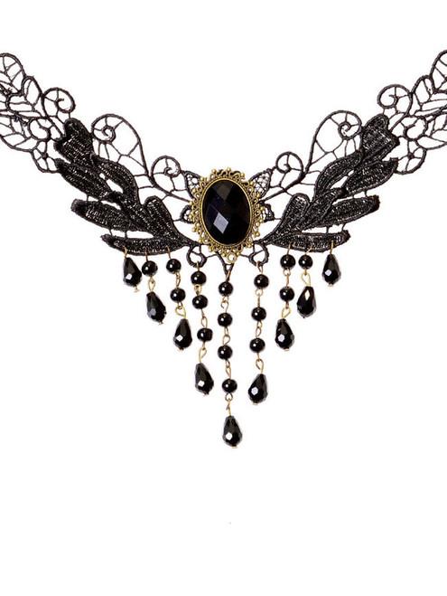 Fashion Vintage Tassel Black Lace Necklace