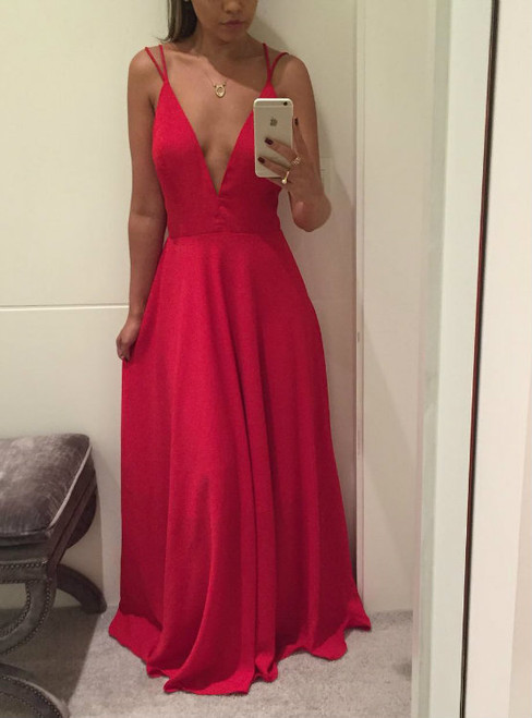 Cheap Sexy Backless Deep V neck Prom Dresses Long A line Semi Formal Gowns