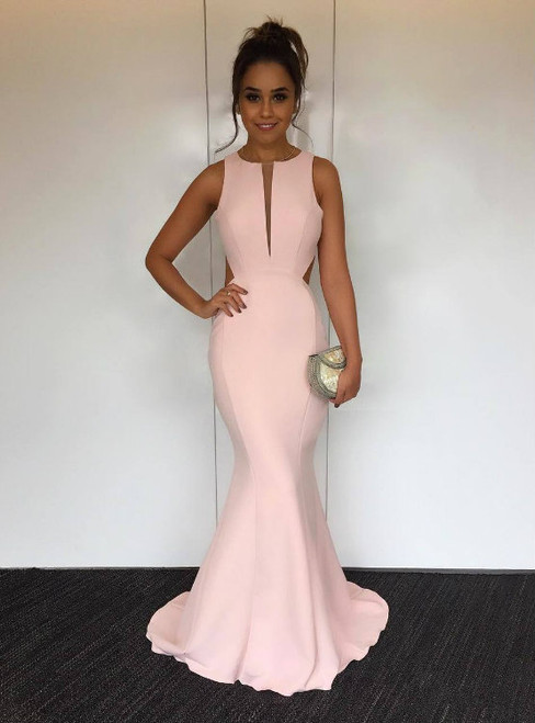Sexy Cut Out Back Pink Satin Mermaid Evening Dress Concise Long Prom Gowns