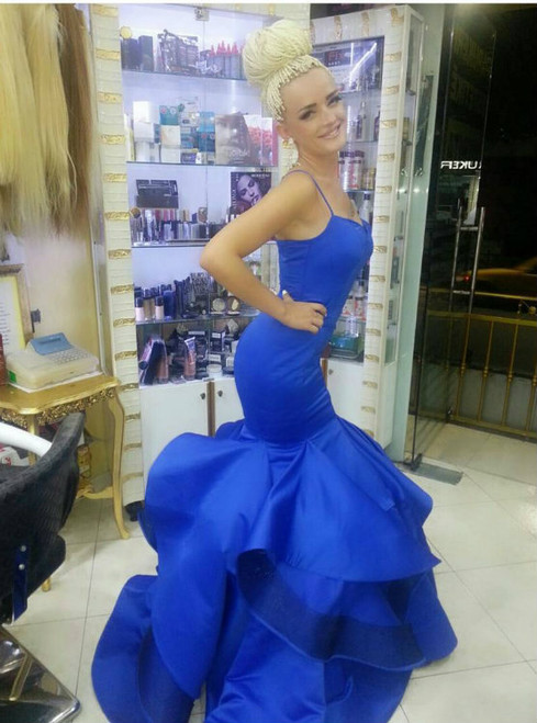 Cheap Royal Blue Satin Ruffles Mermaid Evening Dresses Spaghetti Straps