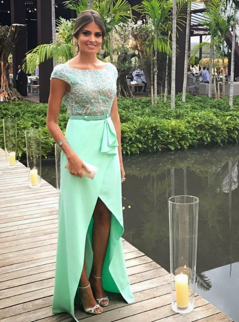 Wonderful  Beading Bodice Backless Prom Long Dresses with Cap Sleeves & Slit