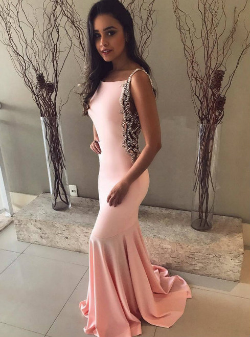 Fashionable Stunning Crystal Beaded Straps Backless Mermaid Prom Dresses
