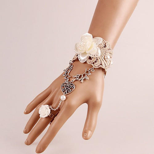 Cheap Heart Lace Flower Bracelet with Ring