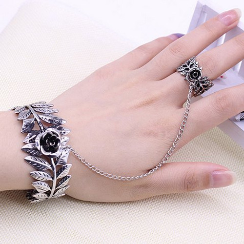 Cheap Flower Leaves Bracelet with Ring
