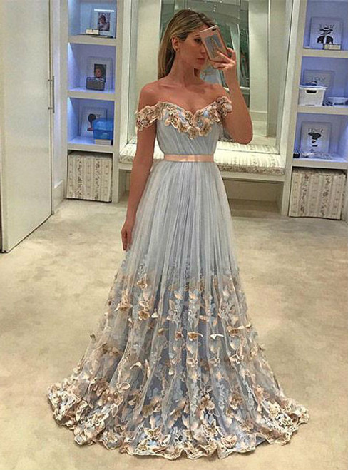 UNIQUE TULLE LIGHT BLUE LONG PROM DRESS  TULLE EVENING DRESS