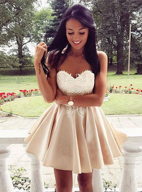 CUTE HOMECOMING DRESS CHAMPAGNE LACE APPLIQUE SHORT PROM DRESS