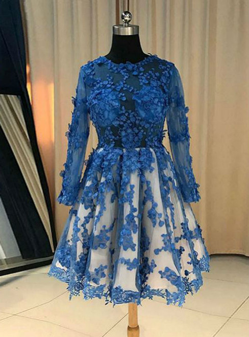 BLUE LACE BRIDESMAID DRESS BLUE LACE SHORT PROM DRESS