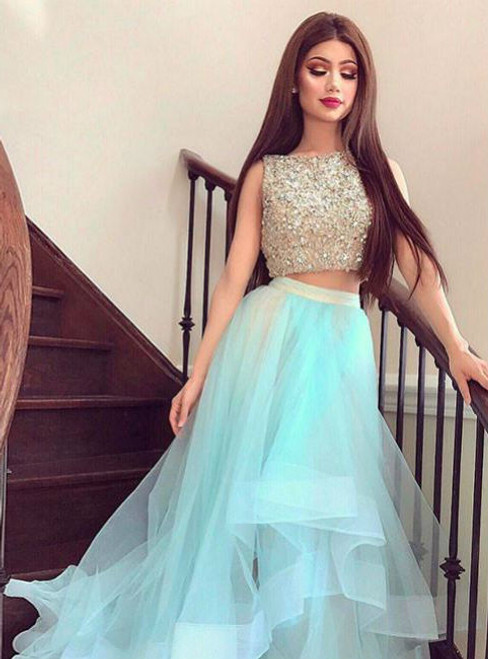 091b56be5735 FORMAL DRESSES CUTE TWO PIECES TULLE SEQUIN LONG PROM DRESS