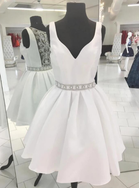 A-Line White Satin V-neck Beading Homecoming Dress