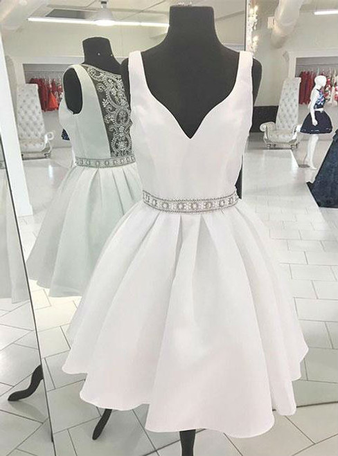 WHITE HOMECOMING DRESS WHITE V NECK BEADS SHORT PROM DRESS