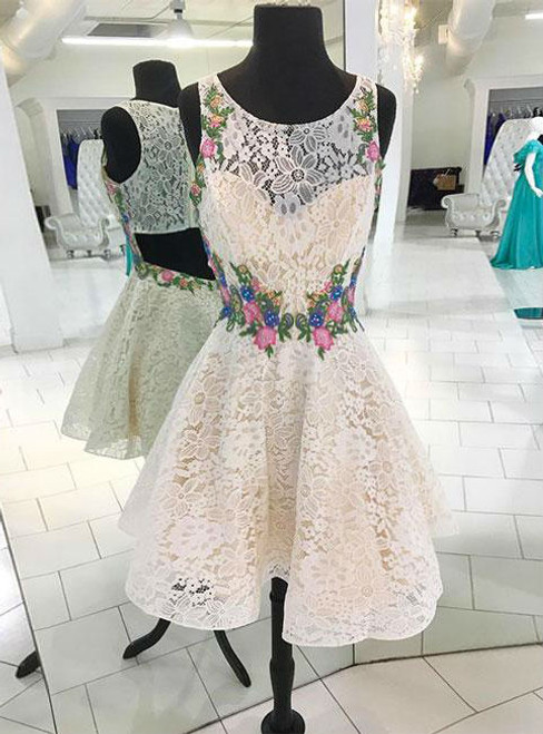 LACE HOMECOMING DRESS WHITE ROUND NECK LACE SHORT PROM DRESS