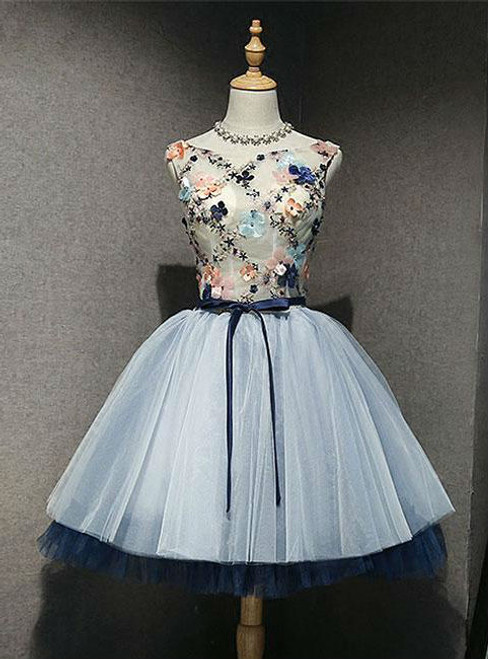 A-Line Blue Tulle Appliques Backless Homecoming Dress