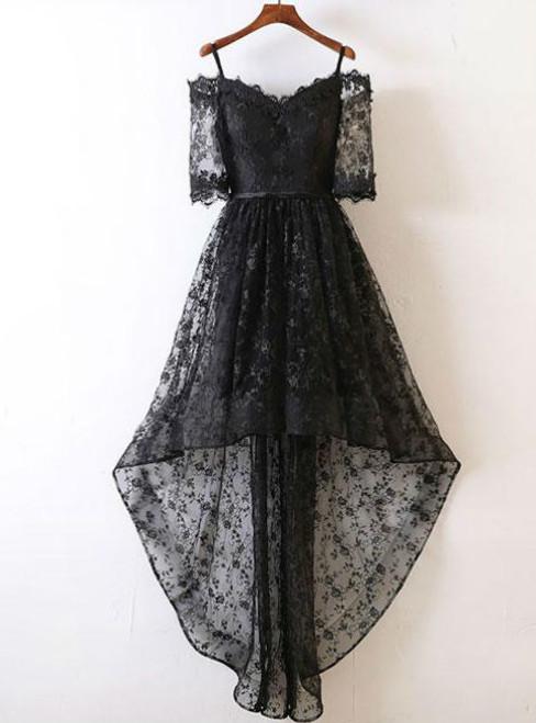 BLACK LACE EVENING DRESS BLACK LACE HIGH LOW PROM DRESS