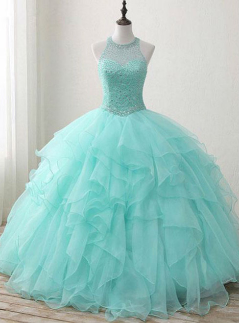 Sweet 16 Dress Green Round Neck Tulle Beads Long Prom Dress