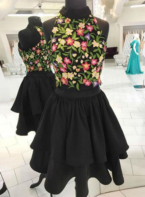 Vintage BLACK TWO PIECES APPLIQUE SHORT PROM DRESS