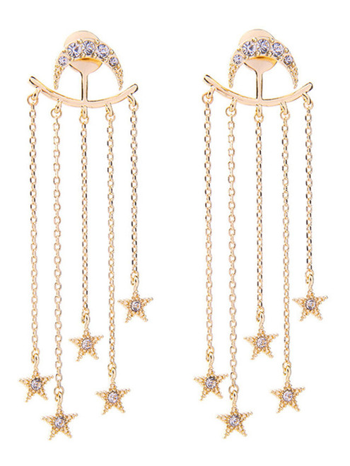 Fashion Chain Fringe Rhinestone Star Crescent Drop Earrings