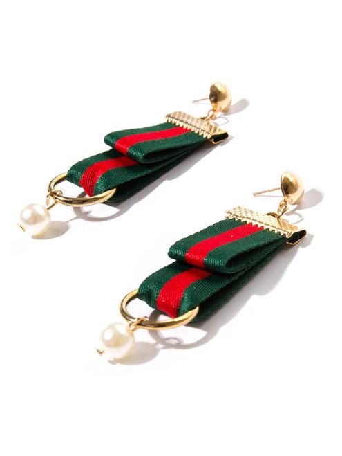 Fashion Ribbon Pearl Pendant Earrings
