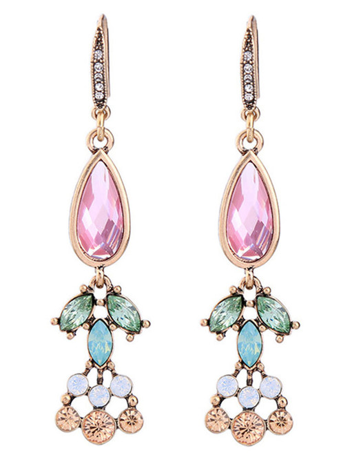 Cheap Colorful Faux Crystal Drop Earrings