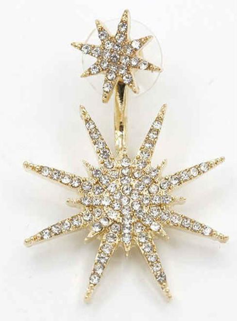 Cheap 1PC Rhinestoned Double Star Earring