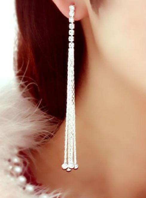 Cheap Pair of Rhinestone Long Chain Tassel Earrings