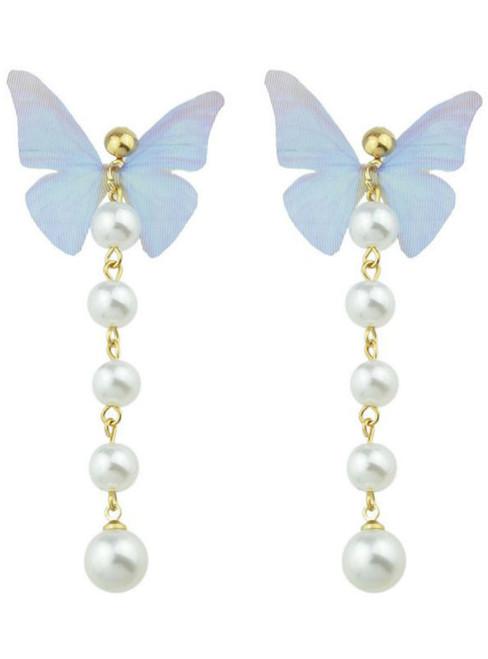 Cheap Faux Pearl Butterfly Earrings