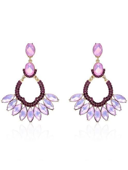Fashion Faux Crystal Oval Earrings